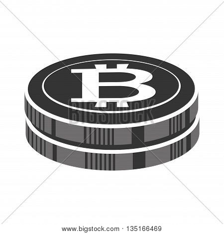 two black money icons with bitcoin signal over isolated background, vector illustration
