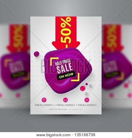 Half price sale. Flyer template. Corporate identity. Vector illustration. EPS 10