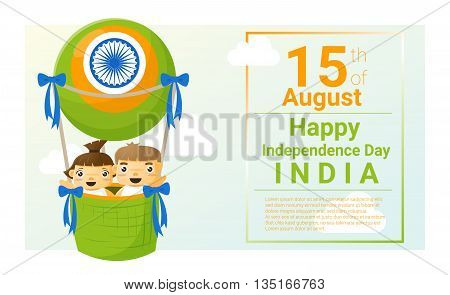 Happy independence day India 15th of August , vector, illustration