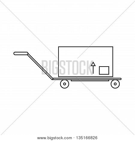 Hand truck with cargo icon in outline style isolated on white background. Cargo delivery symbol