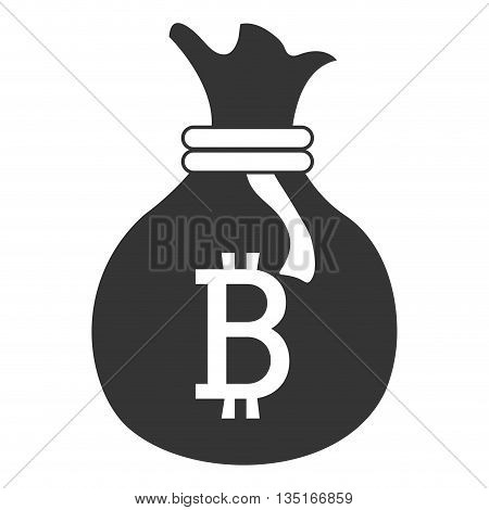 black money bag with bitcoin signal and loop over isolated background, vector illustration