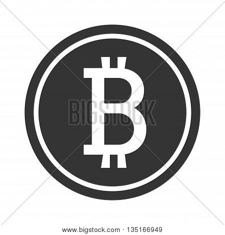 black money coin icon with bitcoin signal over isolated background, vector illustration
