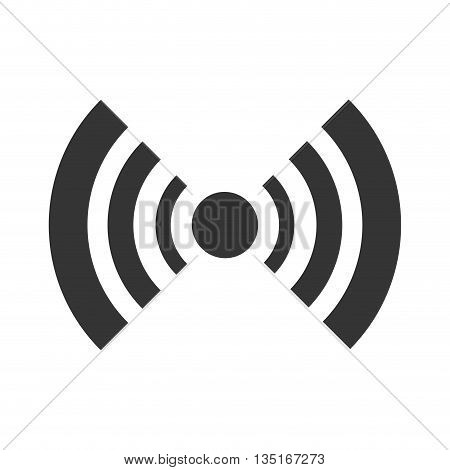 black radar icon with stripes and circle over isolated background, vector illustration