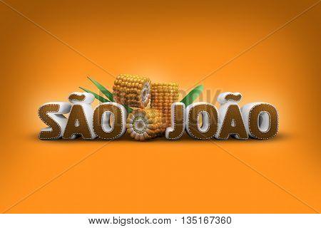 Brazilian june party 3D illustration. Festa Junina image.