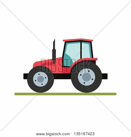Tractor isolated on white background. Flat illustration.