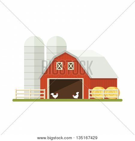 Farm isolated on white background. Flat illustration