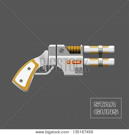Star guns. Video game weapon. Virtual reality device. Vector illustration