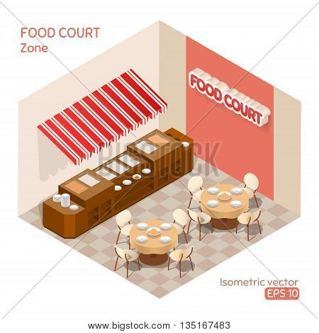 Food court zone. Vector isometric illustration. EPS 10