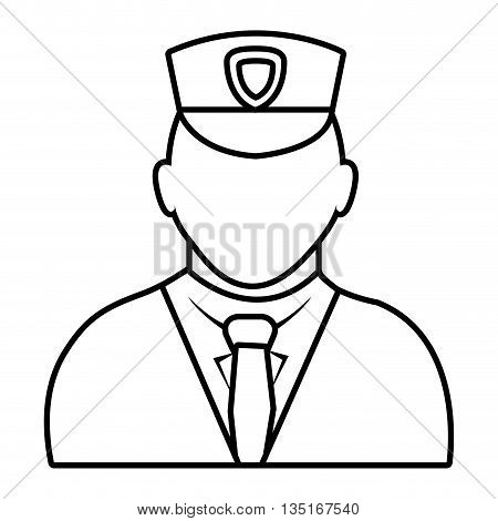 police avatar wearing white suit tie and hat over isolated background, vector illustration