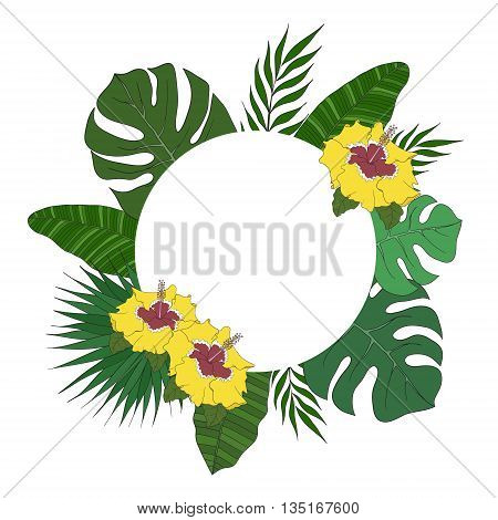 Round frame of leaves of different species of palm trees. Tropical card or banner.