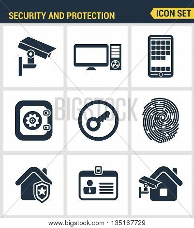 Icons Set Of Premium Quality Of Various Security Objects, Information And Data Protection System, Sa