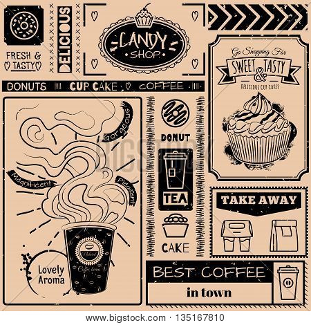 Seamless background with fast food symbols. Menu pattern. Vector Illustration with cup cake cup of coffee and lettering on craft paper background. Decorative elements for packing design