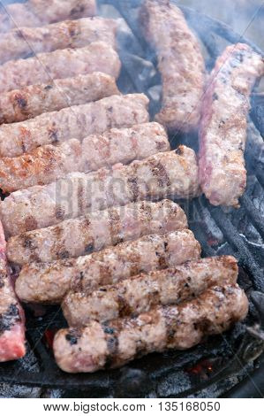 The specialty of the Balkan countries roasted kebabs on the grill