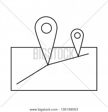 GPS navigation icon in outline style isolated on white background. Road symbol