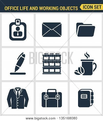 Icons Set Premium Quality Of Business Items, Office Tools, Working Objects And Management Elements.