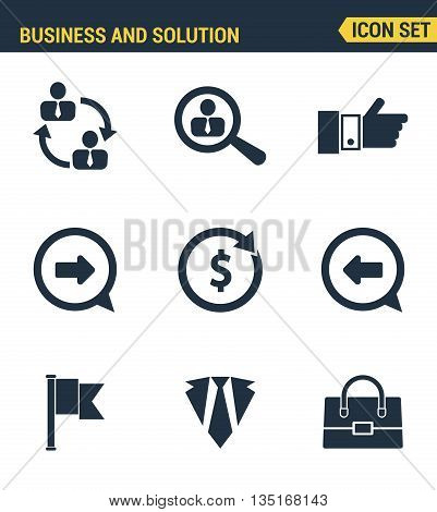 Icons Set Premium Quality Of Doing Business Elements, Solution For Clients. Modern Pictogram Collect