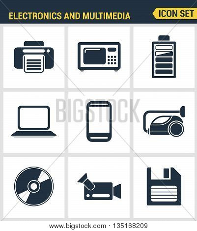 Icons set premium quality of home electronics and personal multimedia devices. Modern pictogram collection flat design style. Isolated white background.