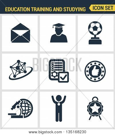 Icons Set Premium Quality Of Basic Education Training And Studying Online. Modern Pictogram Collecti