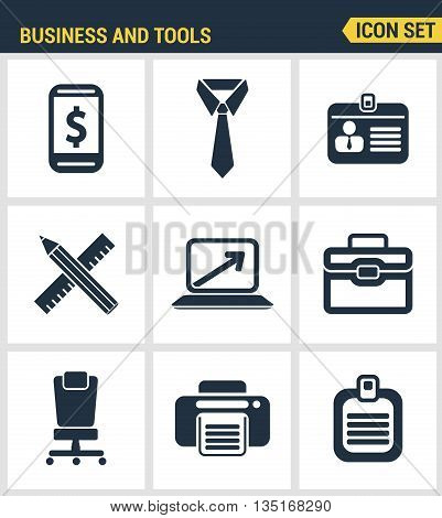 Icons set premium quality of basic business essential tools, office equipment. Modern pictogram collection flat design style. Isolated white background.