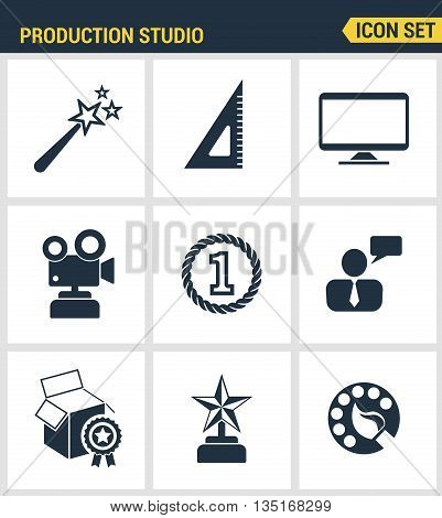 Icons set premium quality of content production studio, solution projecting. Modern pictogram collection flat design style. Isolated white background.
