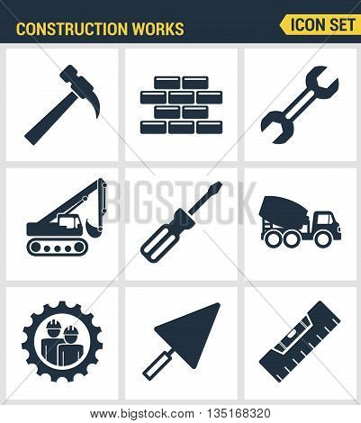 Icons set premium quality of construction works on site and building tools. Modern pictogram collection flat design style. Isolated white background.