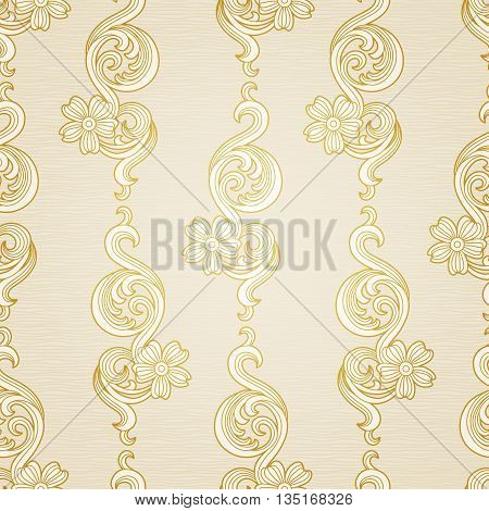 Traditional floral pattern in Victorian style. Backdrop with floral vertical stripes in retro style. It can be used for wallpaper pattern fills web page background surface textures classic fabric.