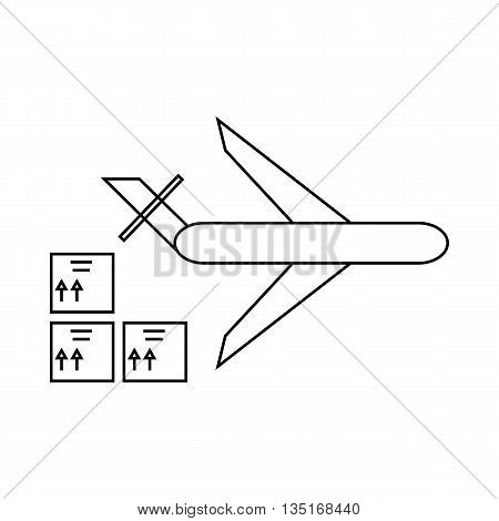 Cargo plane icon in outline style isolated on white background. Cargo delivery symbol