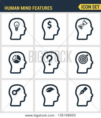 Icons set premium quality of human mind features, characters profile identity. Modern pictogram collection flat design style symbol collection. Isolated white background.