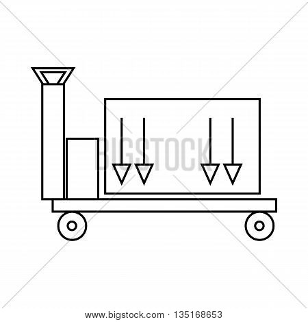 Trailer with cargo icon in outline style isolated on white background. Cargo delivery symbol
