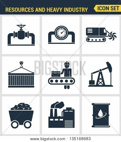 Icons set premium quality of heavy industry, power plant, mining resources. Modern pictogram collection flat design style symbol collection. Isolated white background.