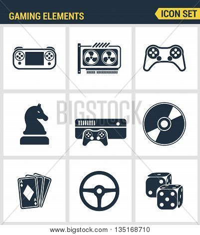 Icons set premium quality of classic game objects, mobile gaming elements. Modern pictogram collection flat design style symbol collection. Isolated white background.