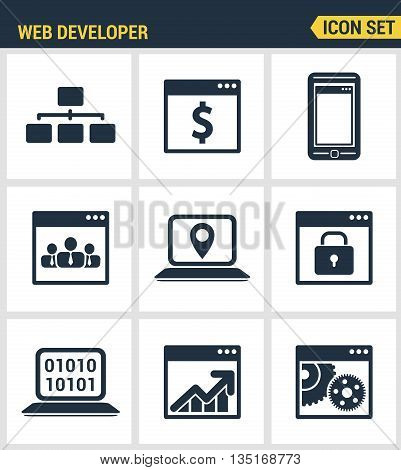 Icons set premium quality of adaptive website customization, web develop process. Modern pictogram collection flat design style symbol collection. Isolated white background.