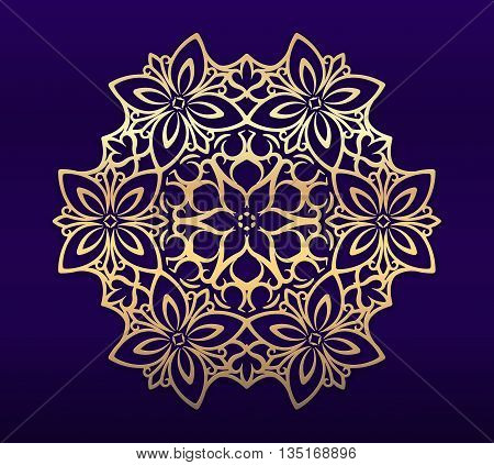 Ornate, decorative, lace, gold frame, mandala on blue dark background. It can be used for decorating of invitations, greeting cards or logo design. Ornament in east style.