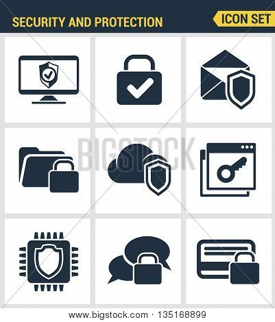 Icons set premium quality of cyber security, computer network protection. Modern pictogram collection flat design style symbol collection. Isolated white background.