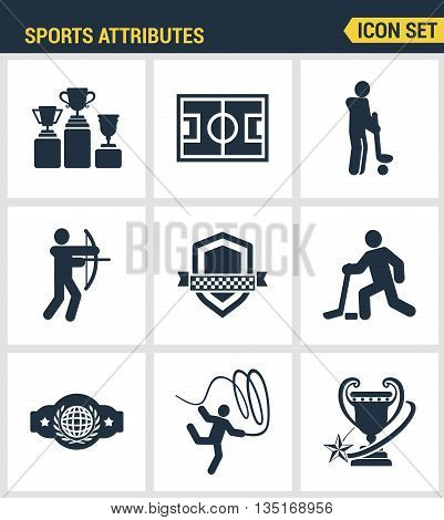 Icons set premium quality of sports attributes, fans support, club emblem. Modern pictogram collection flat design style symbol collection. Isolated white background.