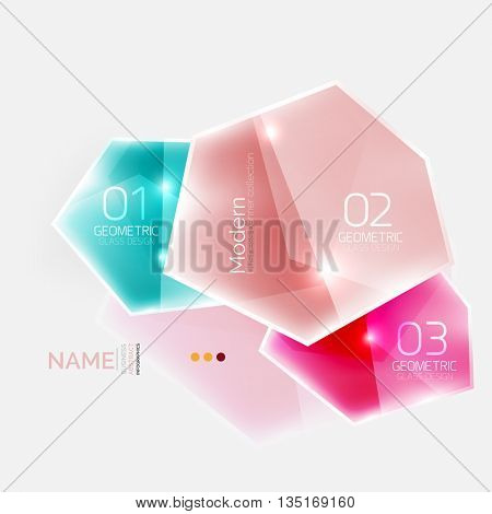Shiny colorful geometric business abstract infographics template. Glossy glass style template with sample text - options and slogans
