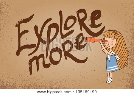 The girl and the inscription on vintage background. Explore more. Voyage vector image.