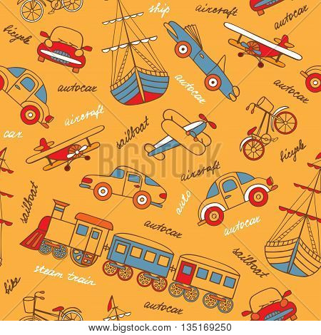 Retro-transport of hand-drawn forms a seamless pattern. Vector illustration in cartoon style. Planes train cars ships.