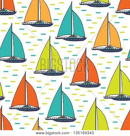 Colored sails and waves on a white background. The sailing yacht is hand-drawn. Vector seamless pattern.