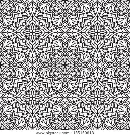 Seamless Square Abstract Tribal Black-White Pattern In Mono Line Style. Hand Drawn Ethnic Texture. Can be used as anti stress therapy for coloring or coloring-book.