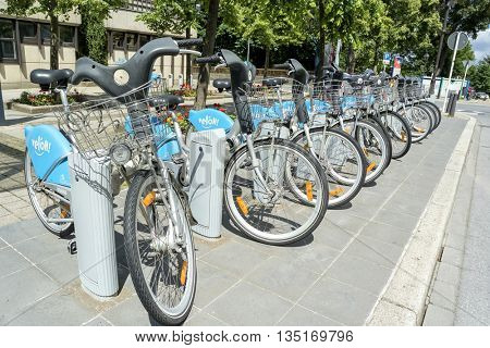 LUXEMBOURG, LUXEMBOURG - JUNE19, 2016:  Public Bike Rental Terminal run by the bike sharing company Veloh in Luxembourg