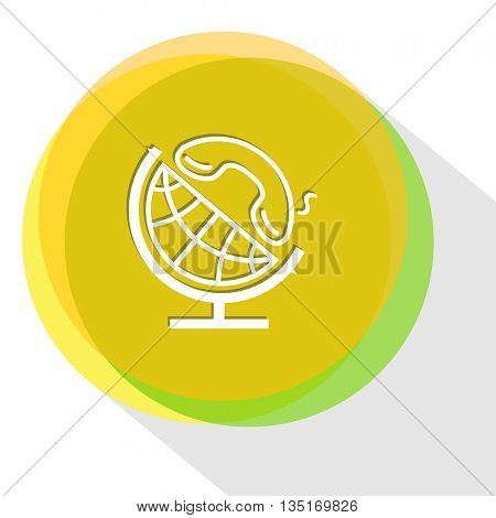 globe and handset. Internet template. Vector icon.