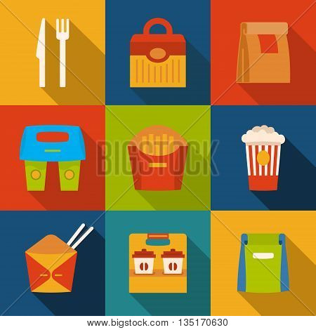 Set with fast food icons. Take away. Packaging. Vector illustration.