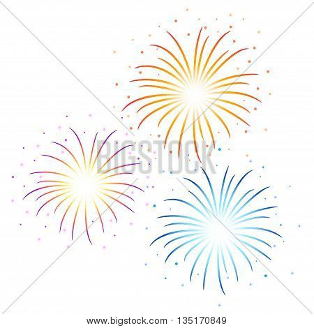Vector colorful Firework illustration on white background