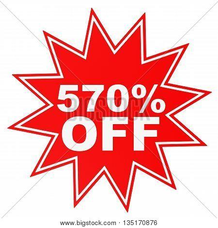 Discount 570 Percent Off. 3D Illustration.