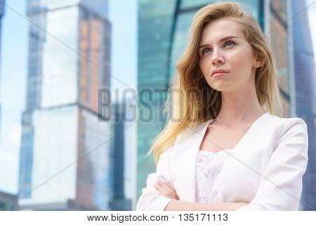 Close up portrait of a professional business woman outdoor