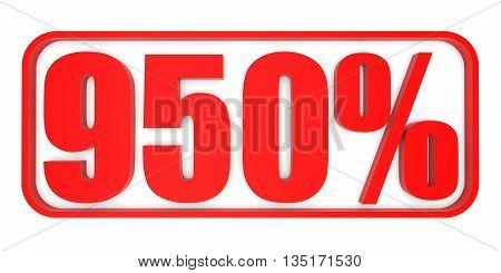 Discount 950 Percent Off. 3D Illustration.