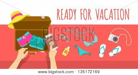 Summer vacation vector flat illustration. Packing beach stuff for summer time travel. Woman puts in suitcase summer clothes, swimsuit, flip-flops, hat, glasses, camera and passport. Top view banner