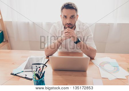Portrait Of Tired Sad Man With Laptop Thinking About His Problems