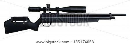Black precision airgun with scope isolated on white.